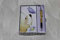 """Блокнот в подарочной упаковке 0204 с ручкой """"Мишка с цветами """""""