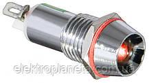Сигнальна лампа (арматура) металева AD22C-10 червона 24V AC/DC