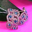 Срібні ажурні сережки з камінням - Брендові сережки з блакитними камінням срібло 925, фото 6