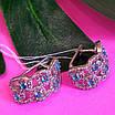 Срібні ажурні сережки з камінням - Брендові сережки з блакитними камінням срібло 925, фото 4