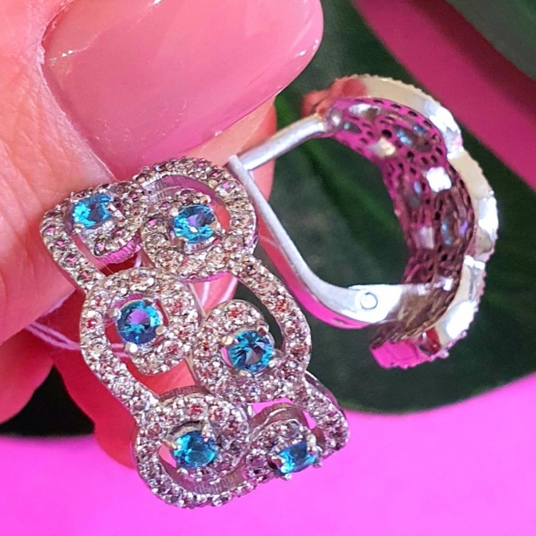 Срібні ажурні сережки з камінням - Брендові сережки з блакитними камінням срібло 925