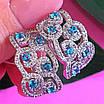 Срібні ажурні сережки з камінням - Брендові сережки з блакитними камінням срібло 925, фото 2