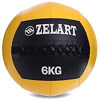 Мяч для кроссфита и фитнеса WALL BALL Медицинский медбол 6 кг ZELART Черный-желтый (FI-5168-6)