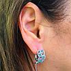 Срібні ажурні сережки з камінням - Брендові сережки з блакитними камінням срібло 925, фото 7