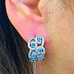 Срібні ажурні сережки з камінням - Брендові сережки з блакитними камінням срібло 925, фото 3