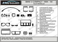 BMW E36 Compact Накладки на панель под карбон плюс Hartman / Накладки на панель БМВ 3 серия E-36