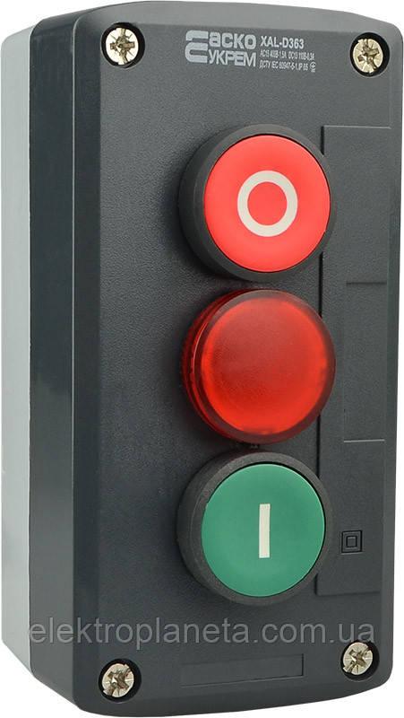 """XAL-D363 Пост керування кнопковий тримісний """"СТАРТ-СТОП-Сигнальна"""""""