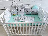 Детский постельный набор постель с бортиками в кроватку Лесные жители (104)