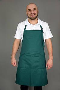 Фартук поварской/официантский с нагрудником,темно-зеленый