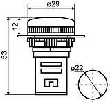 Сигнальна арматура AD22-22DS біла 12V AC/DC, фото 6