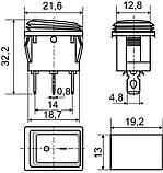 Переключатель клавишный KCD1-2-103W B/B 1 клав. перекидной с защитой (черный), фото 2