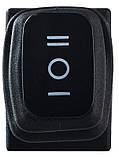 Переключатель клавишный KCD1-2-103W B/B 1 клав. перекидной с защитой (черный), фото 3