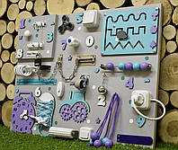 "Развивающая доска Бизиборд Модель 50*65 ""Спинер + розетка "" бізіборд busyboard бирюза с фиолетовым, фото 1"