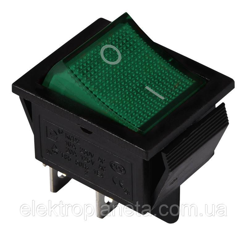 KCD2-201N GR/B 220V Перемикач 1 клав. зелений з підсвічуванням