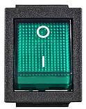 KCD2-201N GR/B 220V Перемикач 1 клав. зелений з підсвічуванням, фото 2