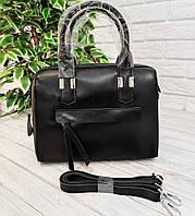 Кожаная женская сумка черная, фото 1