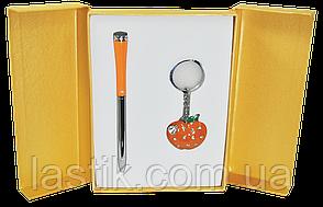 @$Набор подарочный Apple: ручка шариковая + брелок оранжевый