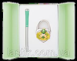 @$Набор подарочный Fairy Tale: ручка шариковая + крючек д/ сумки зеленый