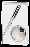 @$Набор подарочный Crystal: ручка шариковая + крючек д/ сумки черный