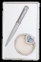 @$Набор подарочный Crystal: ручка шариковая + крючек д/ сумки серый