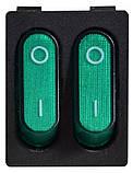 KCD2- 5-2101N GR/B 2 клав.  з підсвічуванням (зелена), фото 2