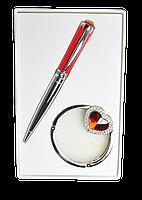 @$Набор подарочный Crystal: ручка шариковая + крючек д/ сумки красный