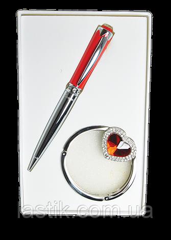 @$Набор подарочный Crystal: ручка шариковая + крючек д/ сумки красный, фото 2