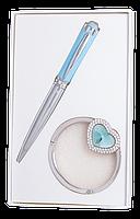@$Набор подарочный Crystal: ручка шариковая + крючек д/ сумки синий