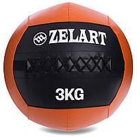 Мяч для кроссфита и фитнеса WALL BALL Медицинский медбол 3 кг ZELART Черный-оранжевый (FI-5168-3)