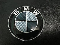 BMW карбон эмблема 83.5мм (турция) на штырях / Значки БМВ 1 серия
