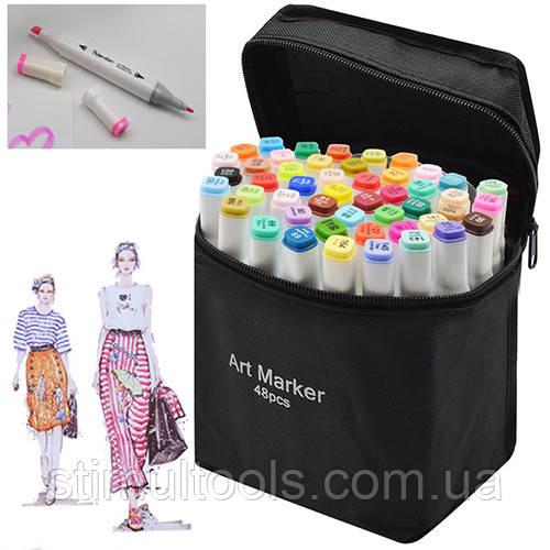 Набор двухсторонних маркеров белый корпус в чехле 48 цветов