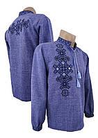 Джинсовая подростковая вышиванка для подростка с вышивкой на спине