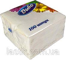 /Салфетки бумажные Диво 330*330 100шт в п/п упак белый