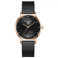 Часы женские Mini Focus 0332L Black брендовый женский аксессуар сетчатый ремень влагозащита