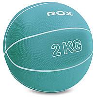 М'яч для кросфіта і фітнесу Медичний медбол 2 кг RECORD Гума Пісок Блакитний (SC-8407-2)