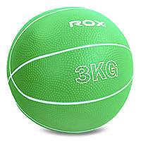 М'яч для кросфіта і фітнесу Медичний медбол 3 кг RECORD Гума Пісок Зелений (SC-8407-3)