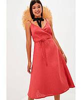 Платье женское льняное на запах Красное, резмер М Прованс