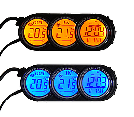 Часы автомобильные ZIRY T-107 4-in-1 время, дата, температура вн/внутр