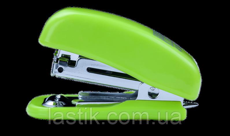 Степлер пластиковый МИНИ 10 л (скобы №10) 61х36х23 мм светлозеленый, фото 2