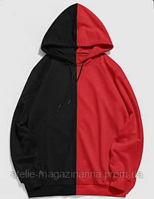 Худи для девочки трикотаж двухнитка красно-черная