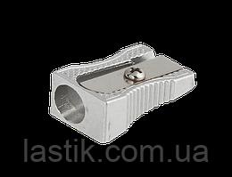 ^Точилка клиноподобная SILVER 1 отв метал корпус серебристая