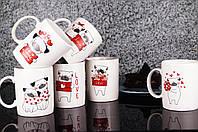 Чашка 330 мл на подарок с сердцами и собачками на День Святого Валентина и 8 марта.