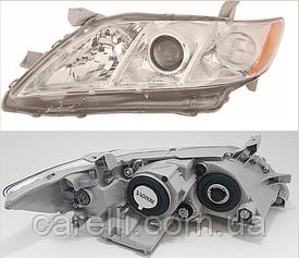 Фара правая механич./электро хром Н7+НВ3 EUR желтая вставка (тип 2006-10) для Toyota Camry 40 2006-11