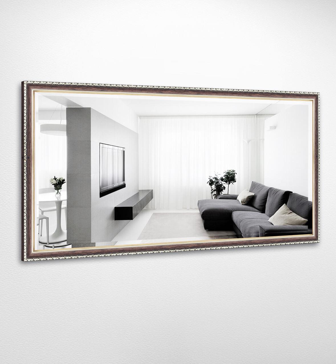 Настенное зеркало БЦ Стол Виктория прямоугольное B03-F темное дерево