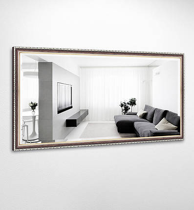 Настенное зеркало БЦ Стол Виктория прямоугольное B03-F темное дерево, фото 2