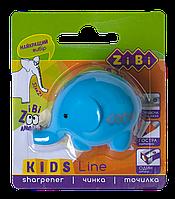 @$Точилка СЛОНИК с контейнером 1 отв блистер голубой KIDS Line