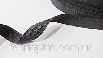 Тесьма  брючная 15 мм темно-серая2  п/э