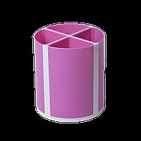 Подставка для пишущих принадлежностей ТВИСТЕР розовая 4 отделения пластик KIDS Line