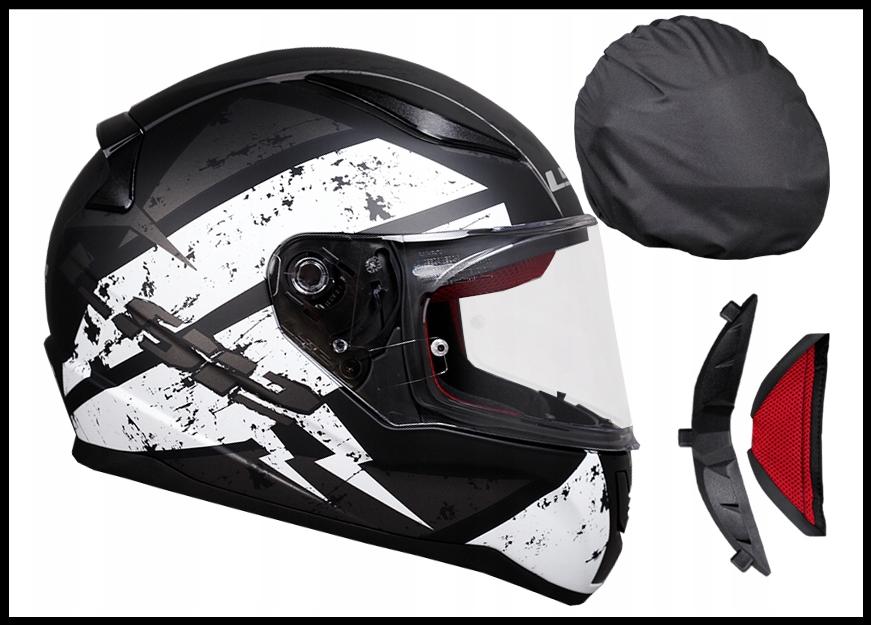 Шлем мотоциклетний LS2 FF353 RAPID чорно-білий, розмір XS.S.M.L.XL.XXL.XXXL