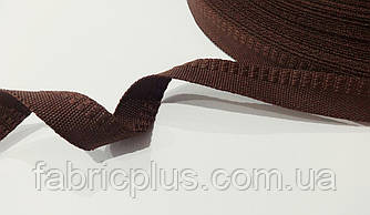 Тесьма  брючная 15 мм темно-коричневая  п/э